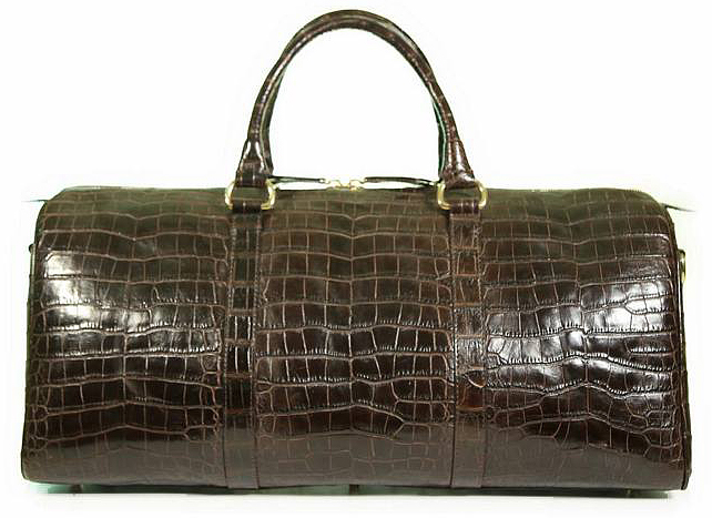 Aino Duffel Bag in Dark Brown Alligator with Millennium Waxy Finish