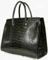 Triple Pleated Gusset Tote - American Alligator with a Matte Waxy Finish in Black