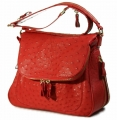 Zippered Messenger Saddle Bag - Ostrich in Red